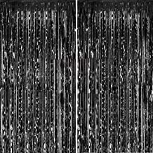 Fecedy 2pcs 3ft x 8.3ft Black Metallic Tinsel Foil Fringe Curtains Photo Booth Props for Birthday Wedding Engagement Brida...