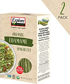 Explore Cuisine Organic Edamame Spaghetti (2 Pack) - 8 oz - High Protein, Gluten Free Pasta, Easy to Make - USDA Certified Organic, Vegan, Kosher, Non GMO - 8 Total Servings