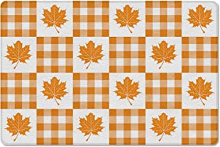 Meet 1998 Leather Doormat Fall Thankgiving Maple Leaves Non-Slip Rubber Floor Mats Orange White Grid Durable Outdoor Entra...