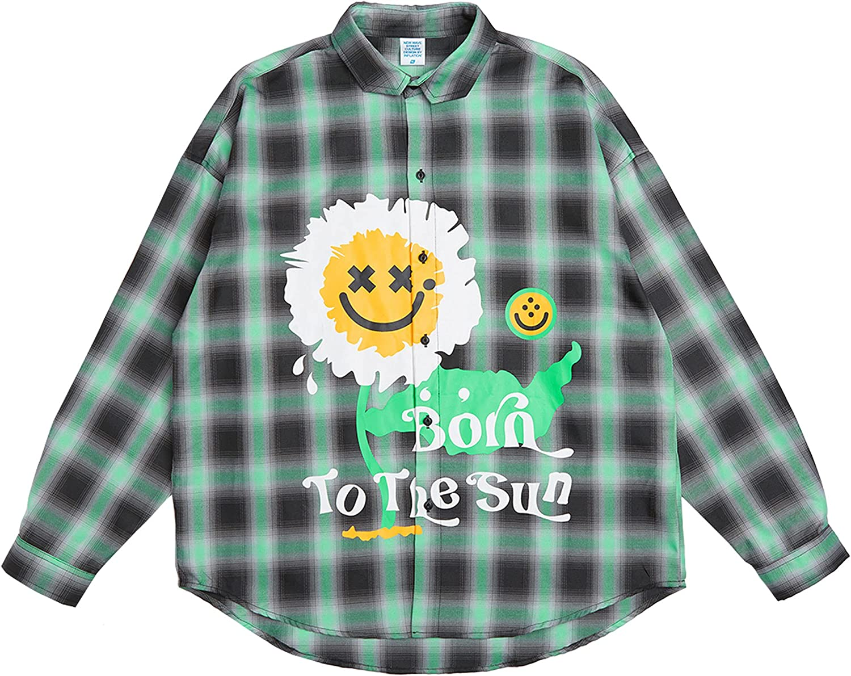 DEVIL KING Men's Oversized Button Shirt Gradient Plaid Printed Casual Shirt Jacket