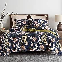 Artextile Queen Bedspread Cotton Fabric Fresh Flower on Dark Blue Design 3 PCS Reversible Pastoral Patchwork Coverlet Bed Cover Set