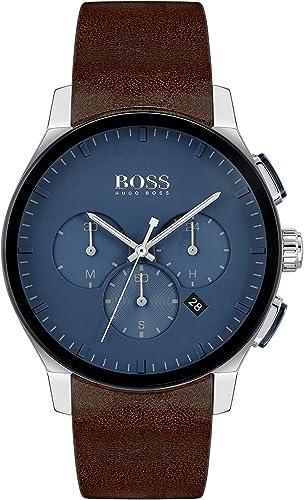 Hugo boss, orologio,cronografo per uomo,cassa in acciaio inossidabile e cinturino in pelle 1513760