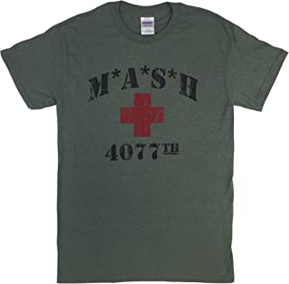 MASH 4077th Heather Military Green T Shirt Red Cross MASH