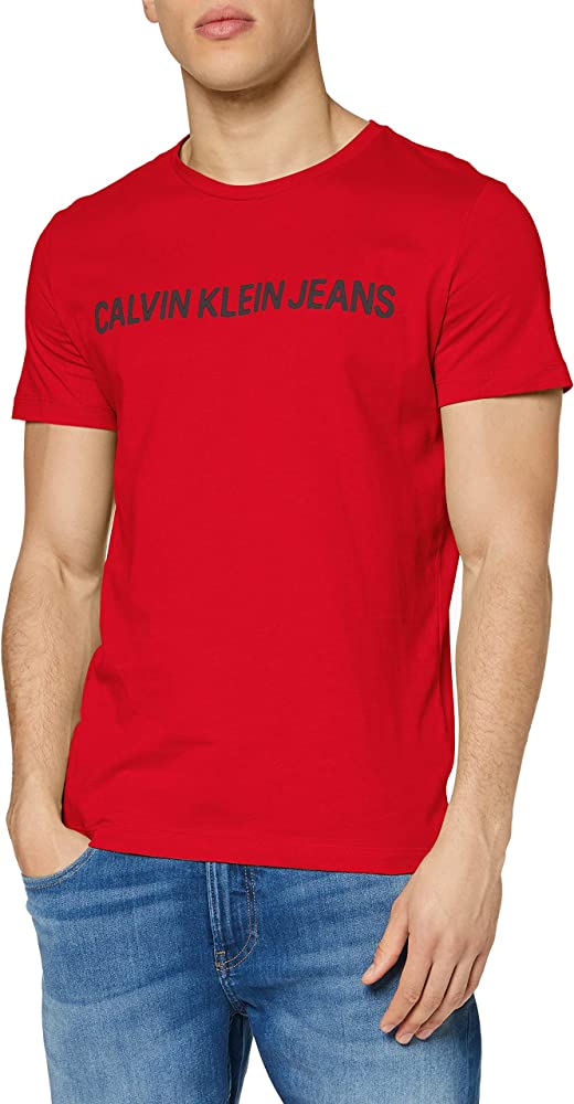 Calvin klein institutional logo slim ss tee t-shirt,maglietta per uomo,100% cotone organico J30J307856