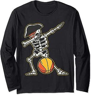 Dabbing Basketball Skeleton Pirate Cool Halloween Costume Long Sleeve T-Shirt