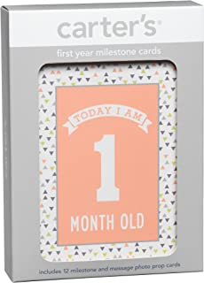 Carter's First Year Milestones and Message Photo Prop Cards for Newborns and Infants, 12pc, 4.25