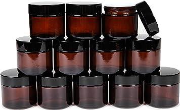 Vivaplex, 12, Amber, 2 oz, Round Glass Jars, with Inner Liners and black Lids