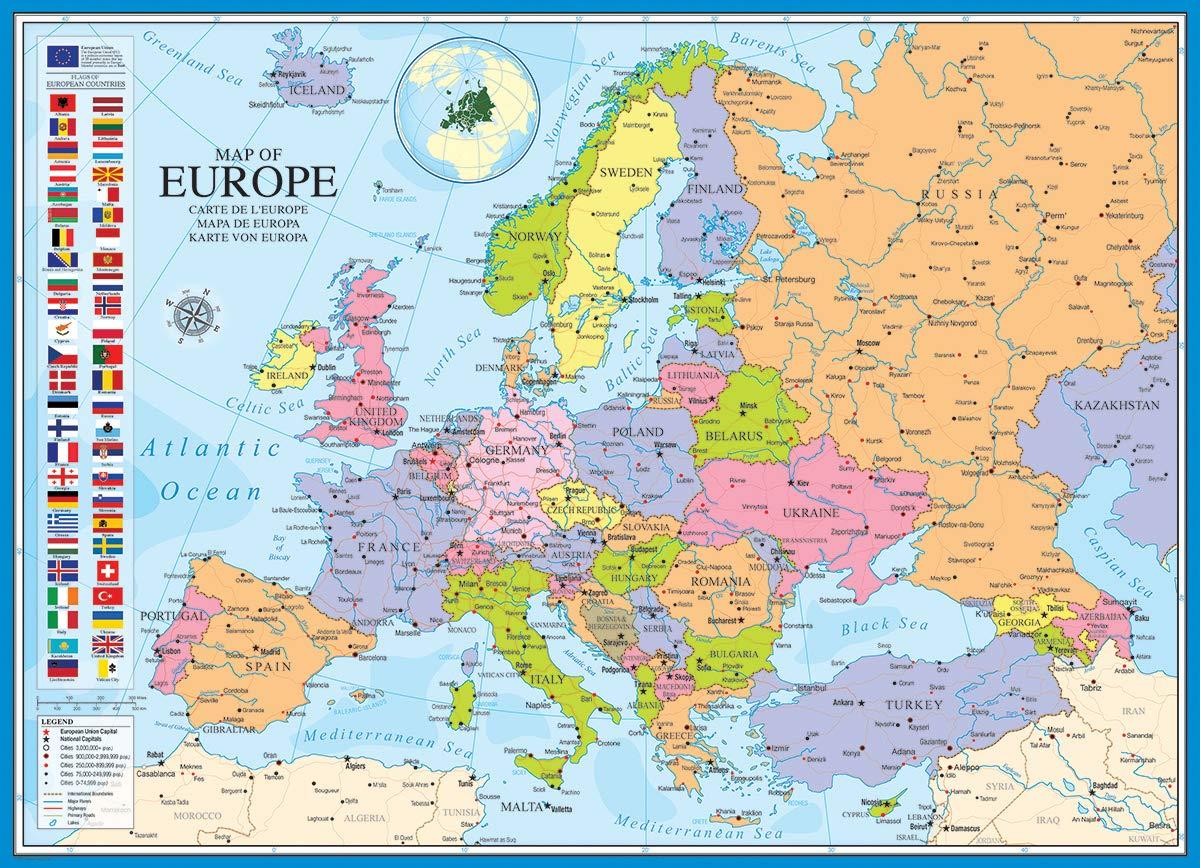 EuroGraphics Puzle (1000 Piezas) 6000-0789, diseño de Mapa de Europa: Amazon.es: Juguetes y juegos