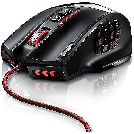 CSL-Computer Mouse Gaming Professionale Titanwolf Gauntlet - Sensore Laser AVAGO 9800 da 16400dpi -18 Tasti programmabili - Mouse da Gioco Alta Precisione - MMO - Software