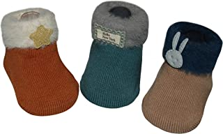 Abracadabra Antiskid Socks Booties for Baby Boy and Girl Suitable for 6 to 12 Months Set of 3 - Multi Rust