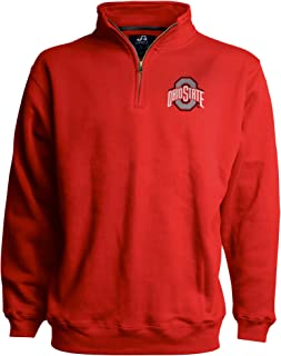 J. America NCAA Ohio State Buckeyes Mens Premium 1/4 Zip Pullover Sweatshirt with Embroidered Team Logo