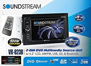 Soundstream VR-623B Built-in Bluetooth 6.2 Inch Touchscreen High Resolution TFT LCD Car CD DVD MP3 Receiver Hands Free Calls Audio Streaming USB AUX SD Card Inputs LED RGB Colors AM/FM Radio Stereo