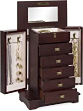 Best Choice Products Handcrafted Wooden Jewelry Box Organizer Wood Armoire Cabinet- Brown
