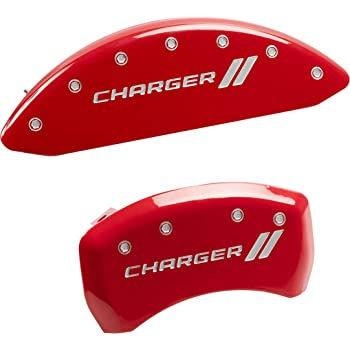 Set of 2 MGP Caliper Covers 14207FBOWRD Bowtie Engraved Caliper Cover with Red Powder Coat Finish and Silver Characters,