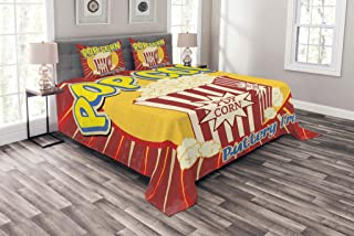 Ambesonne Retro Bedspread, Vintage Grunge Pop Corn Commercial Print Old Fashioned Cinema Movie Film Snack, Decorative Quilted 3 Piece Coverlet Set with 2 Pillow Shams, King Size, Multicolor