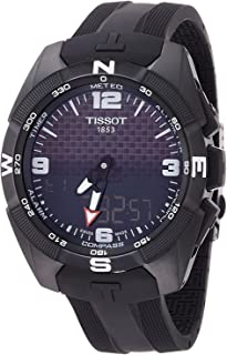 Men's T-Touch Expert Titanium Swiss-Quartz Watch with Silicone Strap, Black, 20 (Model: T0914204705701)