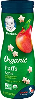 Gerber Organic Puffs Snack, Apple, 6 Count