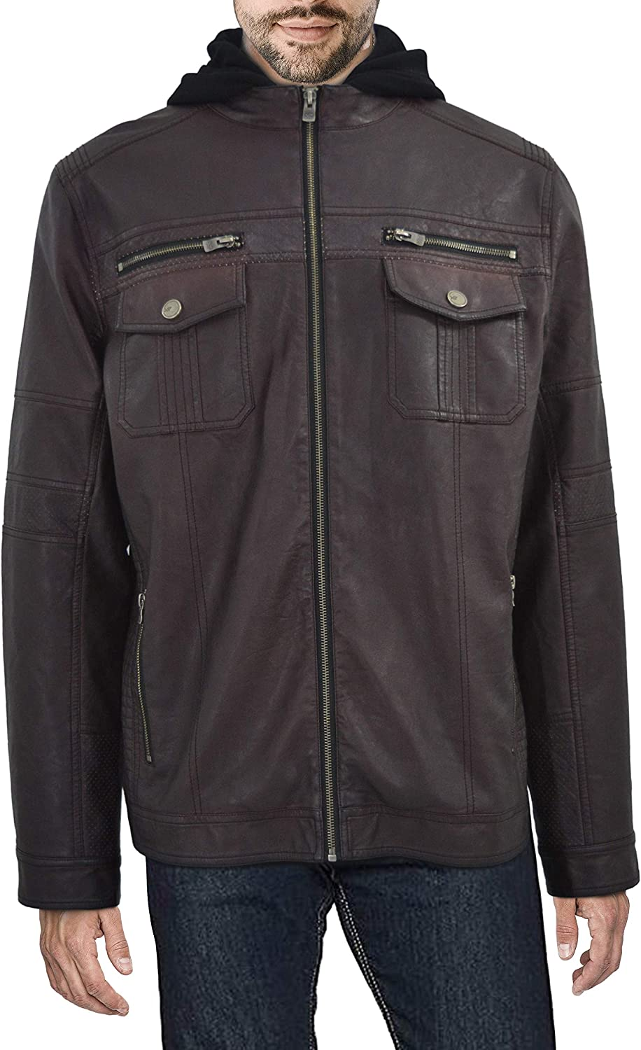 X Over item handling Cheap SALE Start RAY Mens Leather Biker Faux Jacket Motorcy Moto Casual