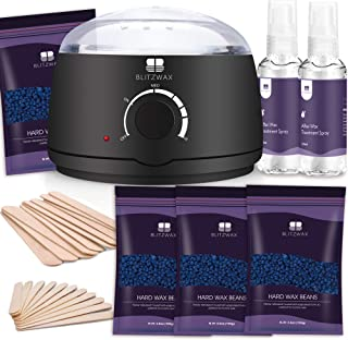 BLITZTWAX Home Use Wax Kit for Easy Male Body Coarse Hair Removal with Hard Wax Beans & 200 ml Pre-Aftercare Oil