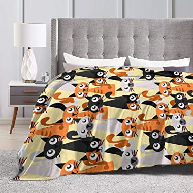 """3D Print Cartoon Cat Blanket Ultra Lightweight Soft Plush Flannel Throws Blanket for Sofa Bed Couch Throw 50""""X40"""" M18"""