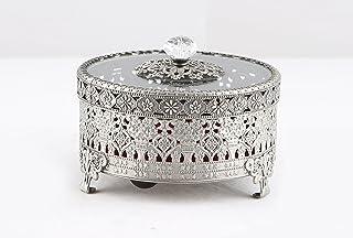Vintage Round Jewelry Decorative Trinket Box Ring Box Antique Metal Case 5.3 inch (Tin (Matt Gray), Large)