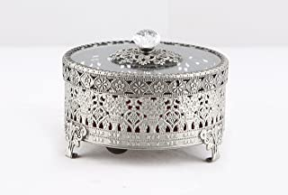 Vintage Round Jewelry Decorative Trinket Box Ring box Antique Metal Case 3.8 inch (Tin (Matt Gray), Small)