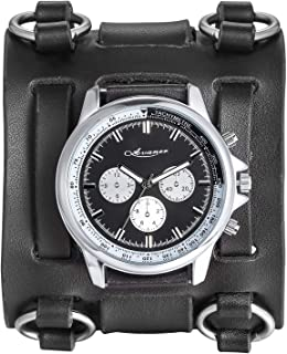 Mens Retro Steampunk Rock Black Wide Leather Bracelet Cuff Watches Big Face Round Dial Analog Quartz Sport Watch [Upgraded] Japanese Quartz Movement Watch