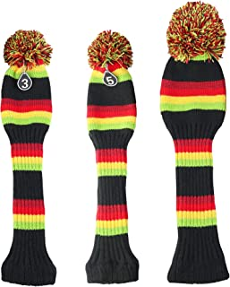 Hauni Stripes Knitted Golf Club Head Covers 3 Piece Set 1 3 5 Driver and Fairway HeadCovers Fits 460cc Drivers,Red,Yellow & Green