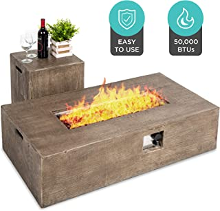 Best Choice Products 48x27-inch 50,000 BTU Outdoor Patio Rustic Farmhouse Wood Finish Propane Fire Pit Table and Gas Tank ...