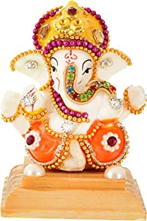 UniqueArt White Stone God Ganesha Car Dashboard Decor Statue | Hindu Idol God Ganesh Ganpati Decor Sculpture | Decorative Gift