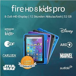 Neu: das Fire HD 8 Kids Pro-Tablet | Ab dem Grundschulalter | 20,3 cm großer Bildschirm (8 Zoll), 32 GB, kindgerechte Hülle in Himmelblau