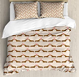 Dachshund 4 Piece Bedding Duvet Cover Set King Size, Cartoon Sausage Dogs in Love on Polka Dotted Backdrop, 4 Pcs Comforter Cover Bedspread with 2 Pillow Shams, Chocolate Vermilion Ivory Pale Salmon