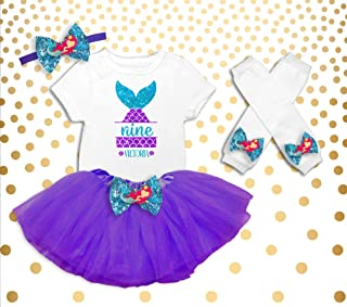 e13c10af6 Girl's 9th Birthday Outfit, Mermaid Birthday Shirt, Mermaid 9th Birthday  Outfit, Mermaid Birthday