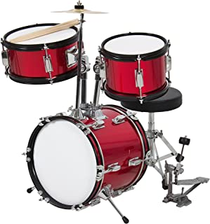 Best Choice Products 3-Piece Kids Beginner Drum Set with Cushioned Stool, Drum Pedal, Red