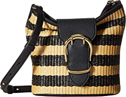 Cornwall Stripe Woven Straw Bucket Crossbody