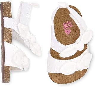 OshKosh B'Gosh Girls Bow Cork Sole Sandals Crib Shoe, White, 0-3 Months