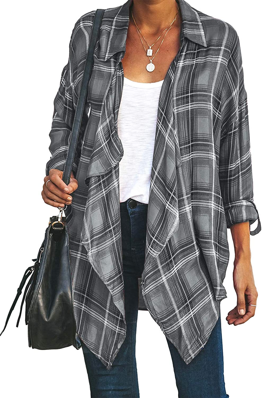 Astylish Womens Plaid Long Sleeve Draped Shirts Waterfall Open Front Kimonos Cover Up Cardigan