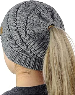 NYKKOLA Winter Warm Beanie Tail Soft Stretch Cable Knit Messy High Bun Ponytail Beanie Hat Wrap Cap