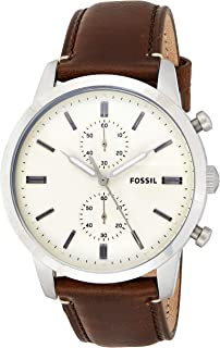 Fossil Mens Quartz Watch, Analog Display and Leather Strap FS5350