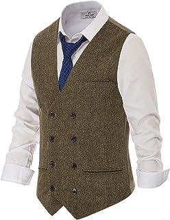 PJ PAUL JONES Men's Wool Blend Tweed Waistcoat Double Breasted Slim Fit Suit Vest