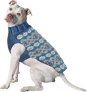 Chilly Dog Teal Fair Isle Alpaca Sweater, X-Large