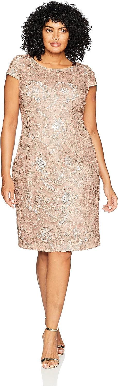 Alex Evenings Women's Plus-Size Midi Cap Sleeve Dress with Sequin