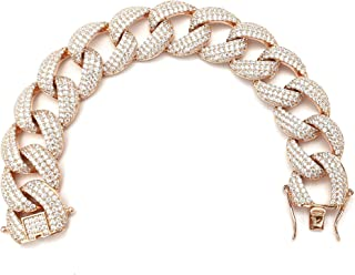 Bracciale da Donna in Argento 925 con Zirconi Bianchi Maglia Cubana Made in Italy