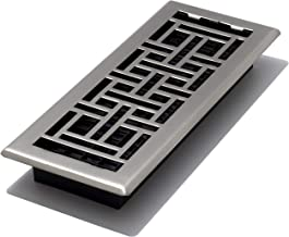 Decor Grates AJH412-NKL Oriental Floor Register, Brushed Nickel, 4-Inch by 12-Inch