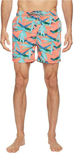 Swim Shorts in Polyester Quality with All Over Print and Contrast Inside Waistband