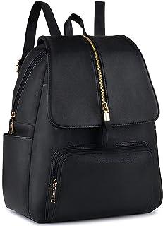 COOFIT Damenrucksäcke,Rucksack Damen PU Lederrucksack Damen Rucksack Frauen Rucksack Schwarz Rucksack Tasche