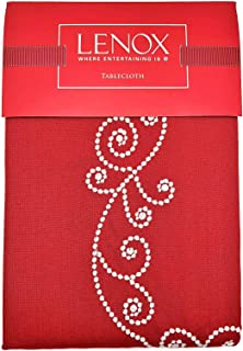 Lenox French Perle Red Embroidered Holiday Tablecloth (60