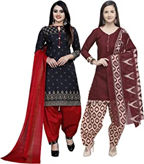 Rajnandini Women's Black And Maroon Cotton Printed Unstitched Salwar Suit Material (Combo Of 2) (Free Size)