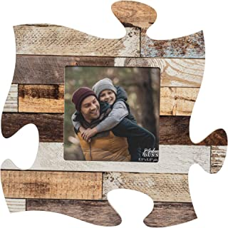 P. Graham Dunn Barn Woodgrain Look Multicolored Brown 12 x 12 Wood Puzzle Piece Wall Frame