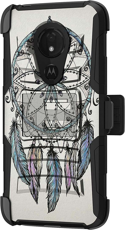 TurtleArmor   Compatible with Motorola Moto G7 Power Case   Moto G7 Supra Case [Hyper Shock] Hybrid Dual Layer Armor Holster Belt Clip Case Kickstand - Dreamcatcher Feathers